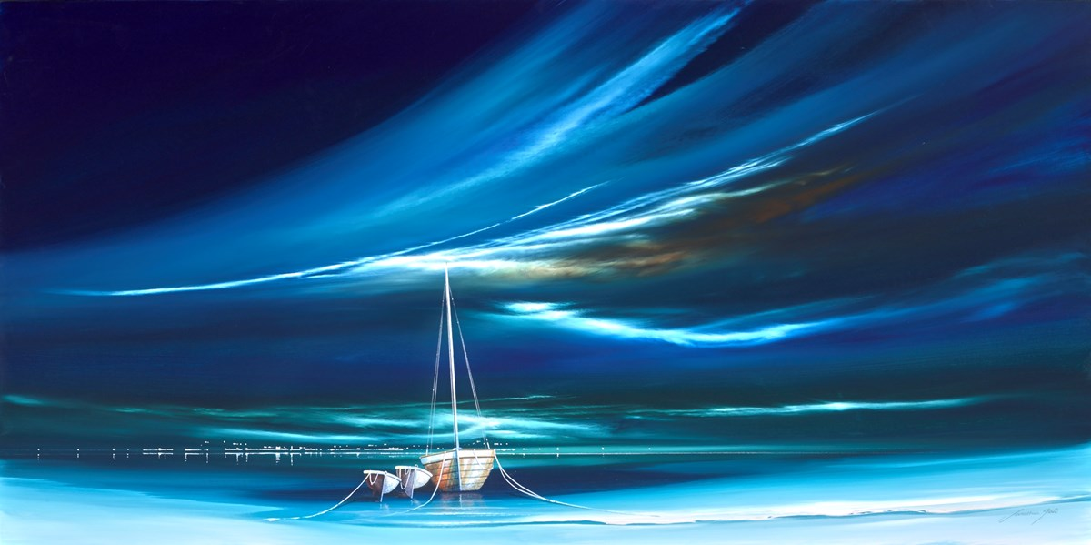 Jade Boats III by jonathan shaw -  sized 48x24 inches. Available from Whitewall Galleries